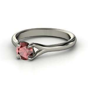 Cynthia Ring, Round Red Garnet 14K White Gold Ring