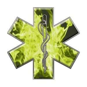 Star of Life EMT EMS Inferno Yellow 12 Reflective Decal