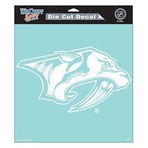 Nashville Predators Die Cut Decal   8x8 White permanent
