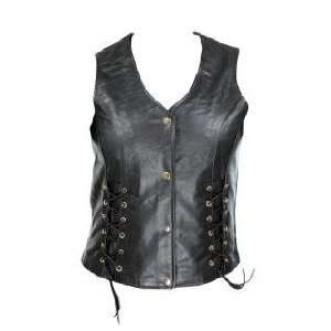 Xelment Womens Black Leather Motorcycle Vest with Front