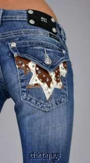 Miss Me Jeans Star Stud Cowhide Denim Boot Cut JW6064B2 Sz 30