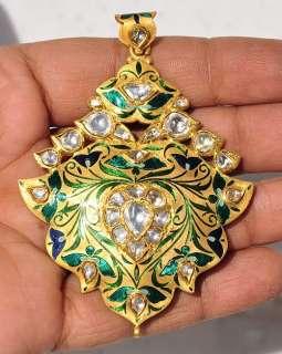 STUNNING 22KT RED GREEN ENAMEL DIAMOND MOGHUL PENDANT