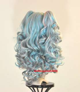 3COLOR BLUE PINK GREY WAVY PONYTAIL COSTUME COSPLAY WIG