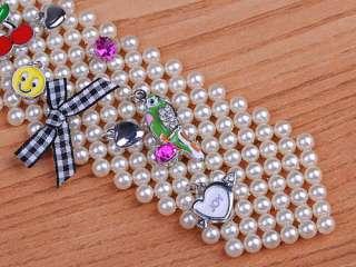 Harujuku Faux Pearl Bead Tie Mini Lucky Charms Metal Ribbon Link Chain