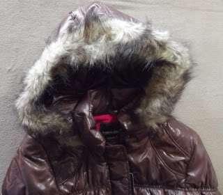 JUNIOR WOMENS S BROWN PUFFER JACKET MINUS ZERO Faux Fur Hood PUFFY