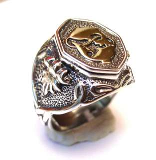Mens Sterling Silver 925 Signet Ring Gold 9K Fishes