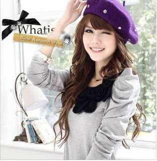 Korea Womens Flowers Puff Sleeve T shirts Tops 0702