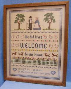 VINTAGE CRAFT NEEDLE POINT WELCOME PICTURE WALL HANGING