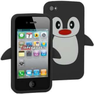 Black Penguine Skin Case Silicone For Apple iPhone 4 / 4S AT&T Sprint