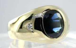 AMAZING 3.70CT OVAL KASHMIR BLUE SAPPHIRE & 2 DIAMOND MENS 18K YELLOW