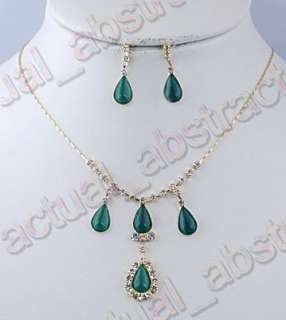 FREE Cat Eye bead&gold plated necklace earring 6sets