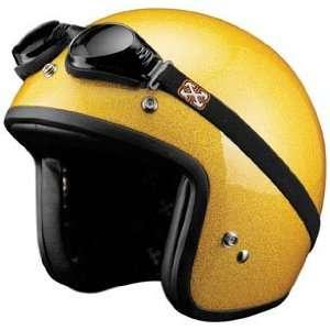 SparX Old School Bobber Open Face Pearl Motorcycle Helmet Sparkle Gold