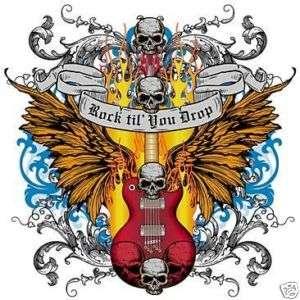 ROCK SKULL GUITAR TATTOO STYLE SHORT SLEEVE T SHIRT