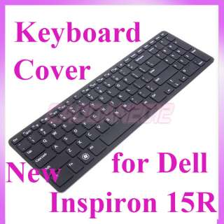 New Black Silicone Keyboard Protector Cover Skin for Dell Inspiron 15R