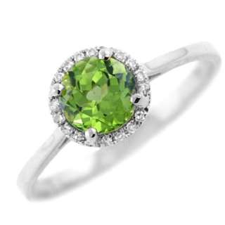 FINE GREEN PERIDOT & DIAMOND COCKTAIL ENGAGEMENT RING 14K WHITE GOLD