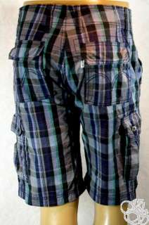 LEVIS JEANS Cargo Sits Below Waist Relaxed Fit Dark Blue Plaid Mens