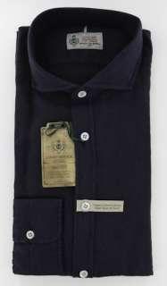 New $375 Borrelli Navy Blue Shirt L/L