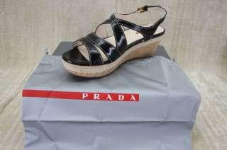 NIB Prada Criss Cross Cork platform Sandals 40 / 10 New Black Patent