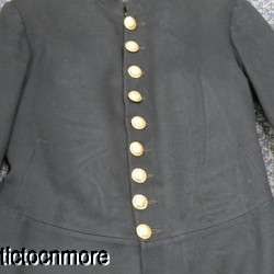 1800s MILITARY ARMY OFFICERS DRESS FROCK COAT UNIFORM NAMED BRASS