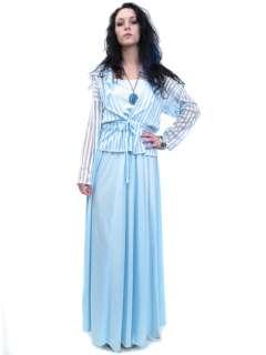 Vintage 60s Powder Blue GODDESS SWEEP Maxi BOHO Hippie Dress