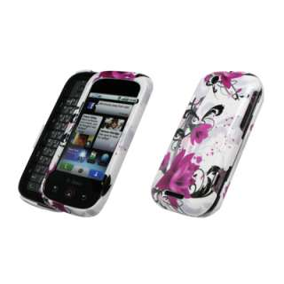 For Motorola CLIQ Purple Flowers Case+Car Charger+Wall Charger