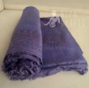 Yoga Om Summer Shawl Light Purple Color Pure Cotton