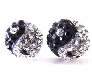 Tai chi ying yang black clear crystals studs earrings
