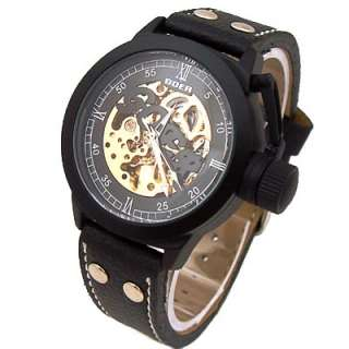 Black Leather Case Auto Mechanical Men Wrist Watch GOER