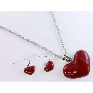 Pinup Girl Red Chuky Heart Necklace and Earring Sets