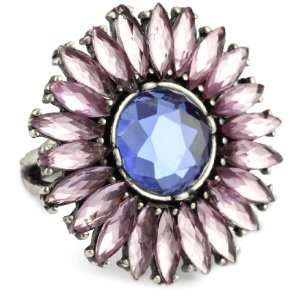 Lucky Brand Cosmic Holiday Silver Tone Purple Daisy Facet Ring, Size