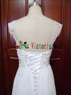 line Sheer Straps Beaded Wedding Dresses Prom Gown All Size*
