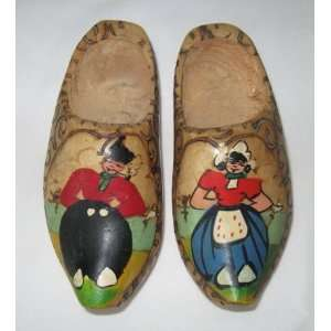 Childrens Vintage Dutch Wooden Shoes Klompen Clogs