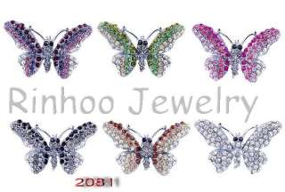Butterfly Rhinestone Crystal 38*24MM Multicolor Brooches NO .2081