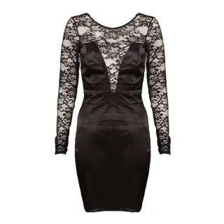 NEW WOMENS BLACK LACE LONG SLEEVE SATIN DRESS SIZE 8 14