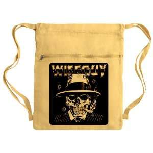 Messenger Bag Sack Pack Yellow Wiseguy Skeleton Smoking