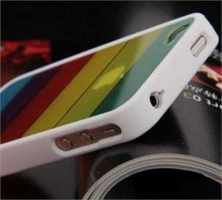 Rainbow White Colorful Clear Back TPU Case Cover Skin for All iPhone 4