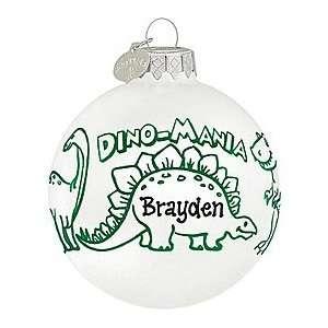 Personalized Green & White Dino Mania Glass Ornament