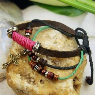 Stylish wood Beads Tibetan Silver Leather Hemp Bracelet