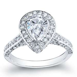 Ct. Pear Cut Diamond Pavé Engagement Ring 14k F VS2