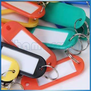 50pcs Colorful Plastic Key ID Label Tags with Split Ring New