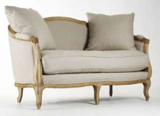 RUE DU BAC FRENCH COUNTRY NATURAL LINEN SETTEE W/ PILLOWS NEW
