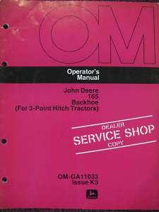John Deere 165 Backhoe for 3 Point Hitch Operator Manual K5