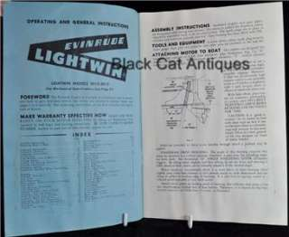 Owners Boat Manual Evinrude 3HP Lightwin #3012 & #3013