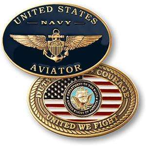 USN NAVY GOLD WING AVIATOR MILITARY CHALLENGE COIN LOOK