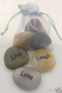 Engraved River Rock Word Stone Bag of Live Laugh Love