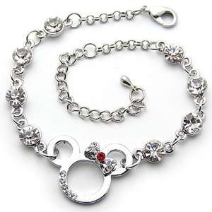B359 Swarovski Crystal Lovely Mickey Minnie Mouse 18k Platinum Plated