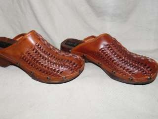 Avanguandia Brown Leather & Wood Clogs Brass Studs Made In Italy Sz10