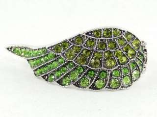 Swarovski Crystal Olivine Angel Wing Bangle Bracelet