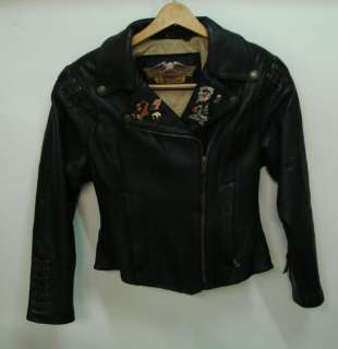 Womens HARLEY DAVIDSON Leather Motorcycle Jacket Sz 36