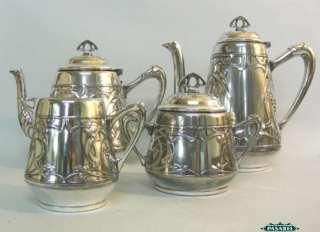 Art Nouveau WMF Silver 4pcs Tea Coffee Set Germany 1900 |